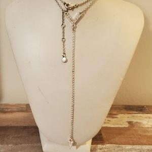 $3 Sale..long V neck necklace w rhinestones new